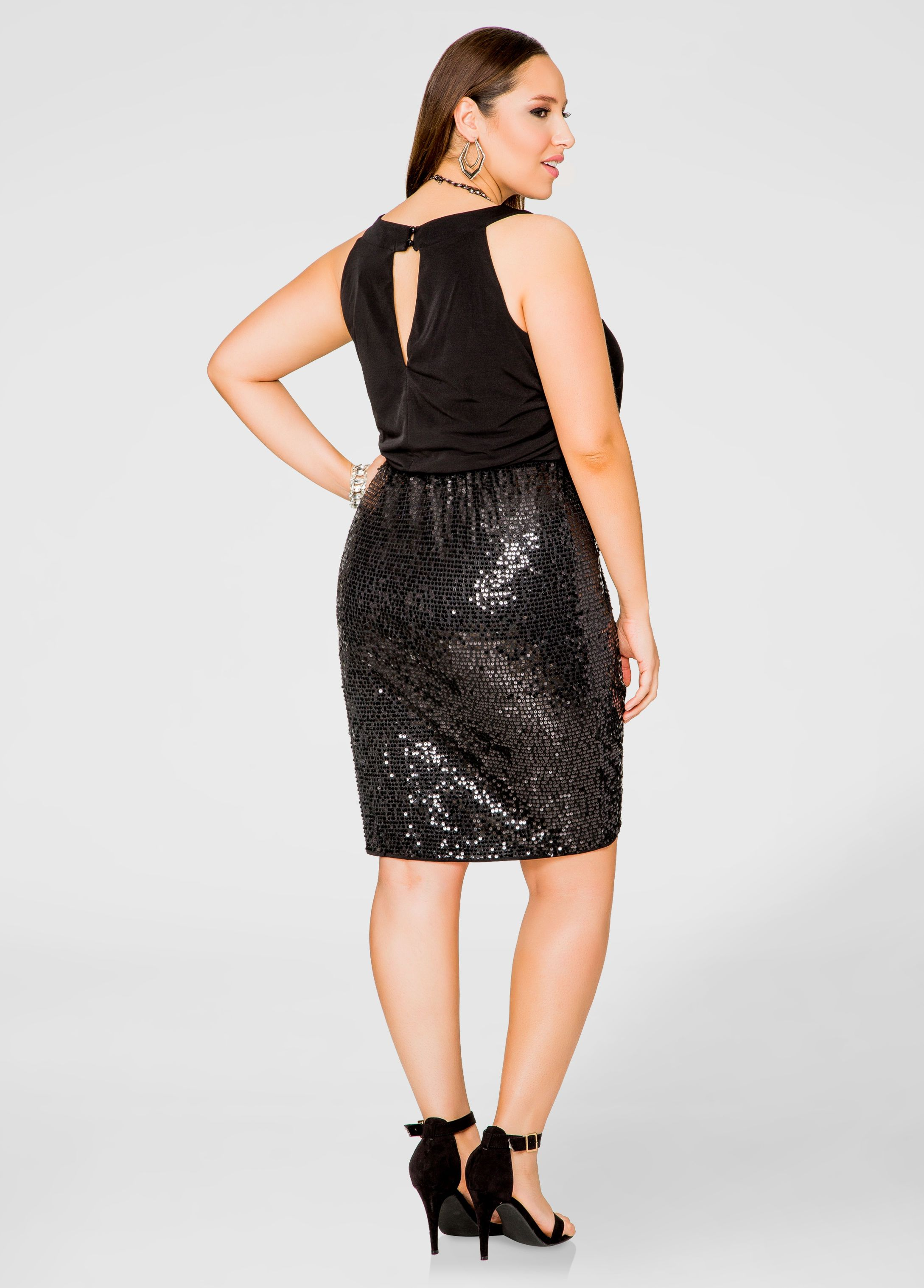 8bfdd03f3a0 Blouson Top Sequin Skirt Dress - Ashley Stewart