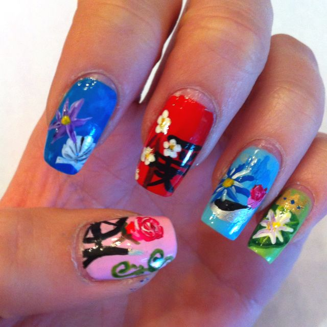 Mulan Inspired Nails: Disney Princess Nails~part 1 Thumb:sleeping Beauty L-r