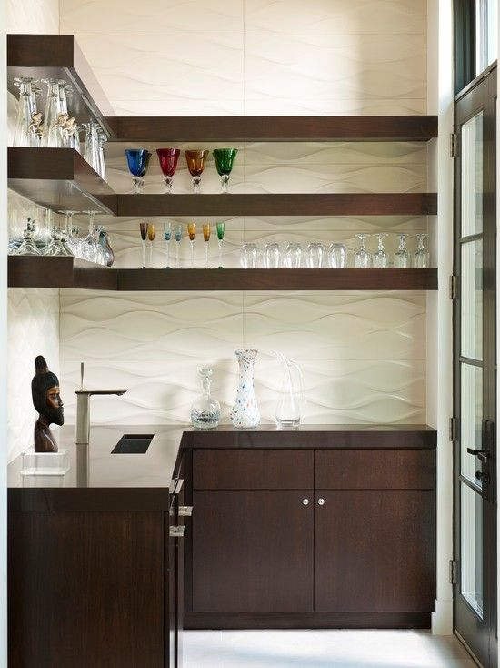 Brown Contemporary Kitchen Bar Shelves For Glasses Also Small Minimalist  Sink And Faucet Style Also