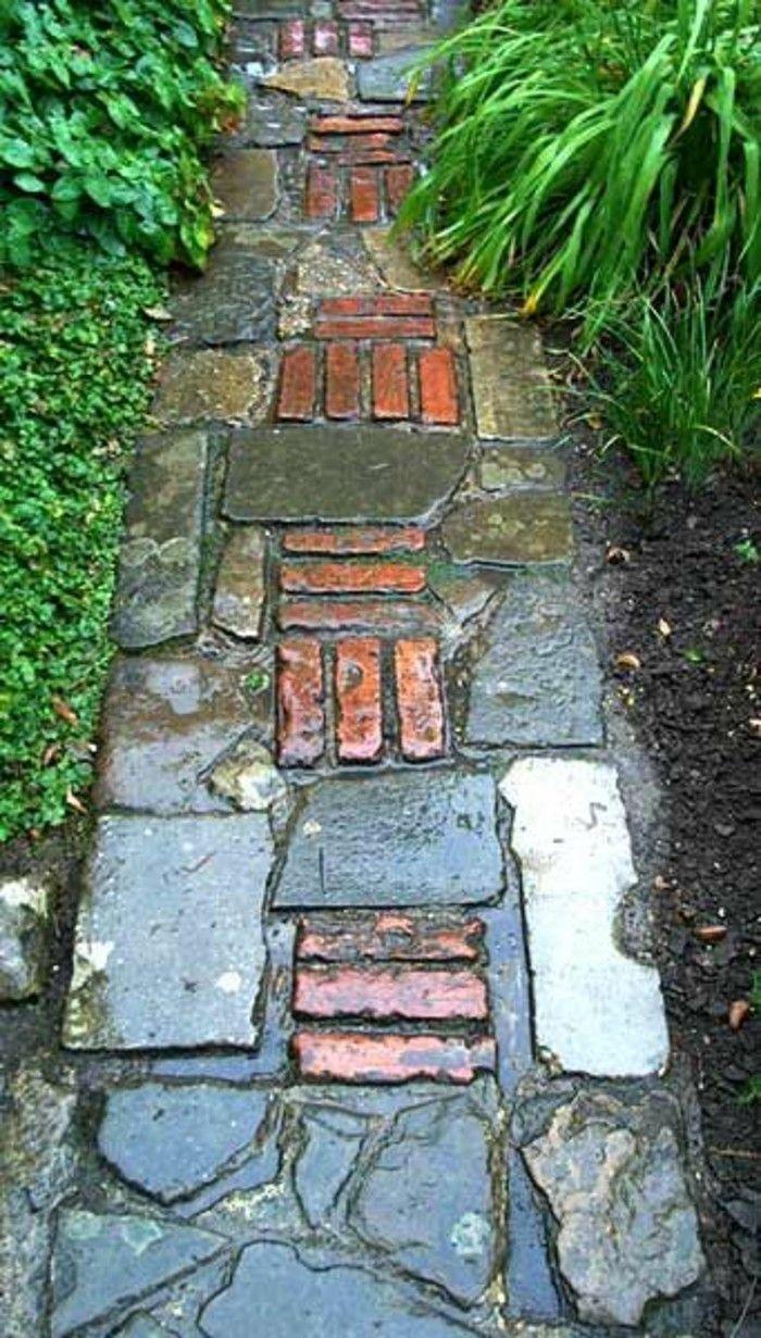120 Gartenwege Aus Backstein Kombinationsmoglichkeiten Mit Anderen Materialien Garten Gartenweg Landschaftsbau