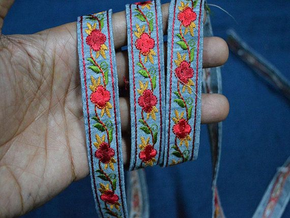Multicolored Craft Ribbon, Embroidered Trim, Fabric trims Decorative Trim  By The Yard, Trimming, ribbon trim, Tapes and trim TTNLFT210 from ...