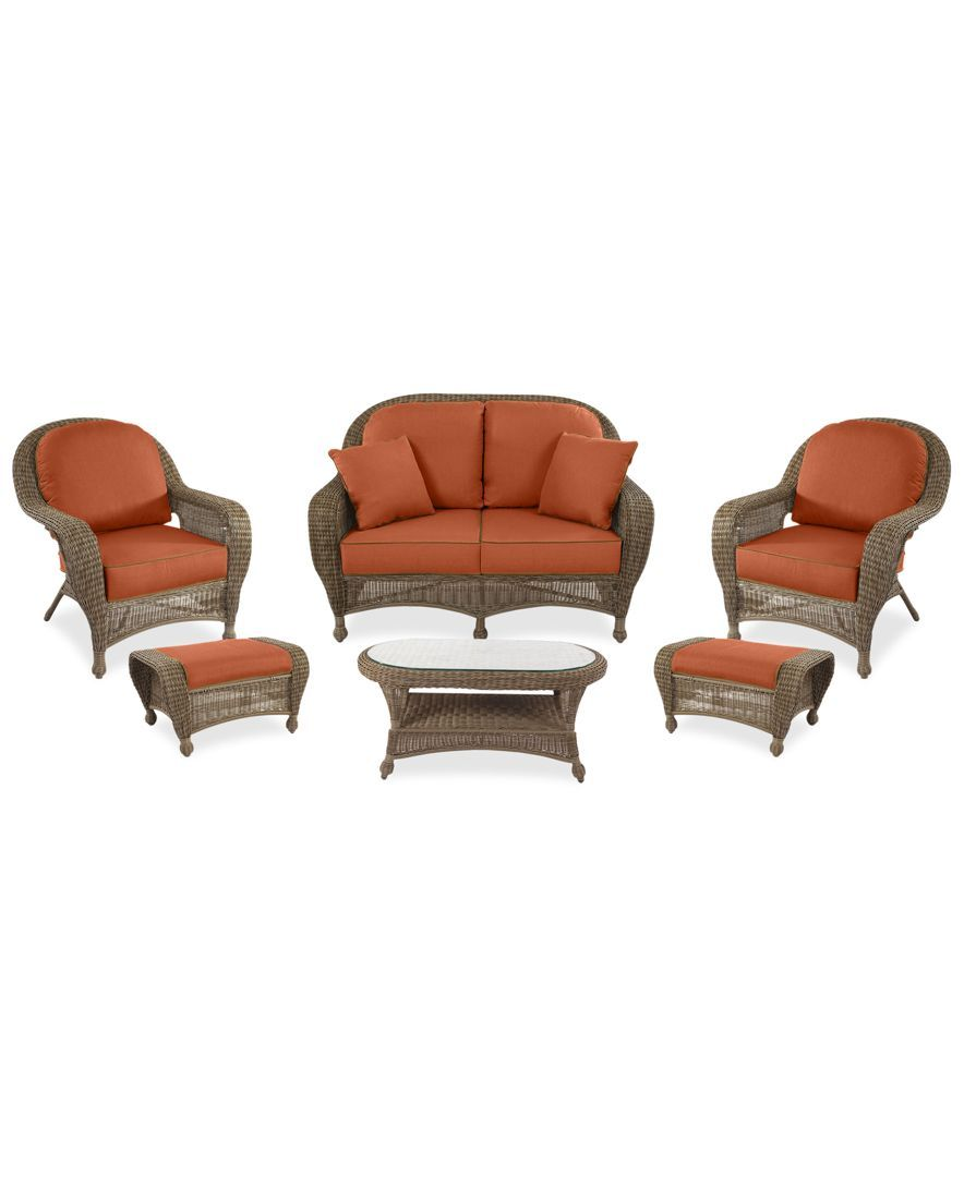 Sandy cove outdoor wicker pc seating set custom colors created