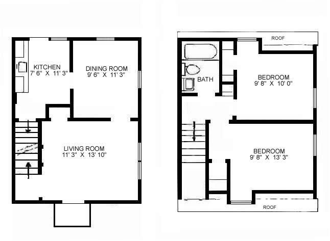 small floor plan change up stairs to one bedroom w bath and