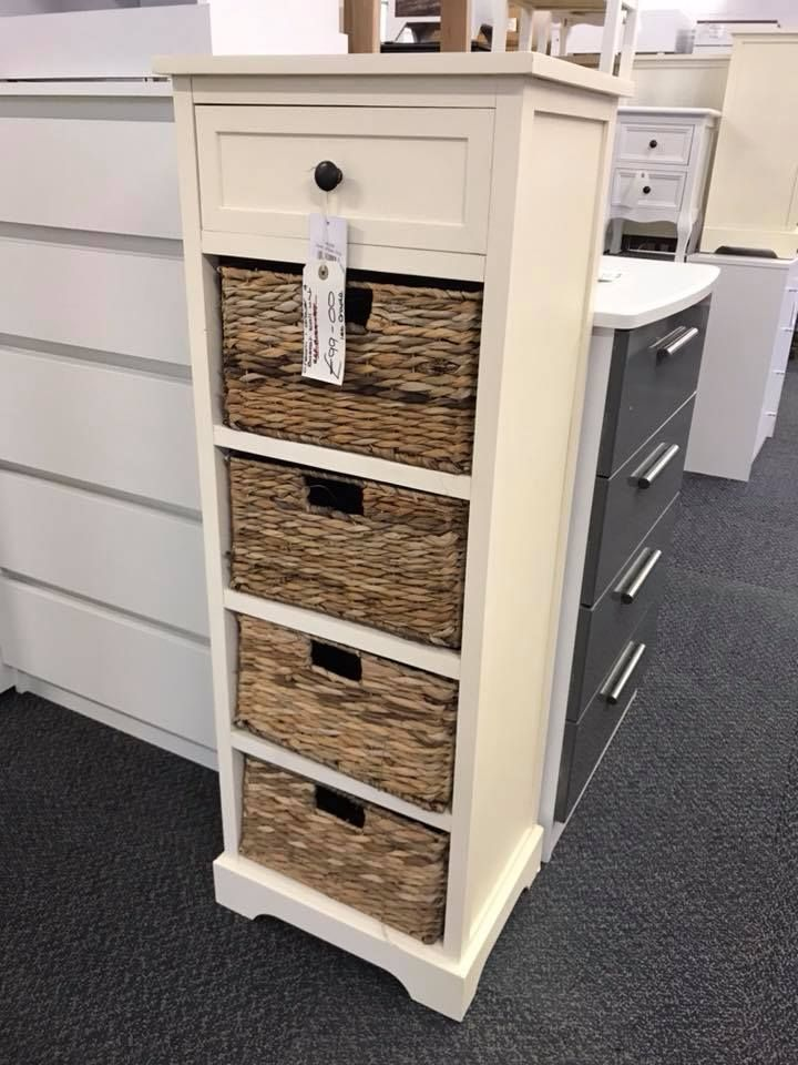 Cream Bedside Tables: Devonshire Cream Wood 1 Drawer 4 Basket Tall Unit