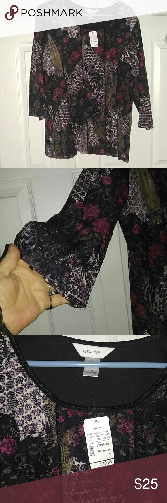 NWT! CJ Banks 3/4 Sleeve Floral Lace Tunic 16/18W Fully lined underneath, so you don't have to worry about wearing something under it! Tags still attached & never even tried on. Nice & flowy..great for this weather! Pretty floral design! Non smoking home. Sz 1X  NO TRADES CJ Banks Tops Tunics