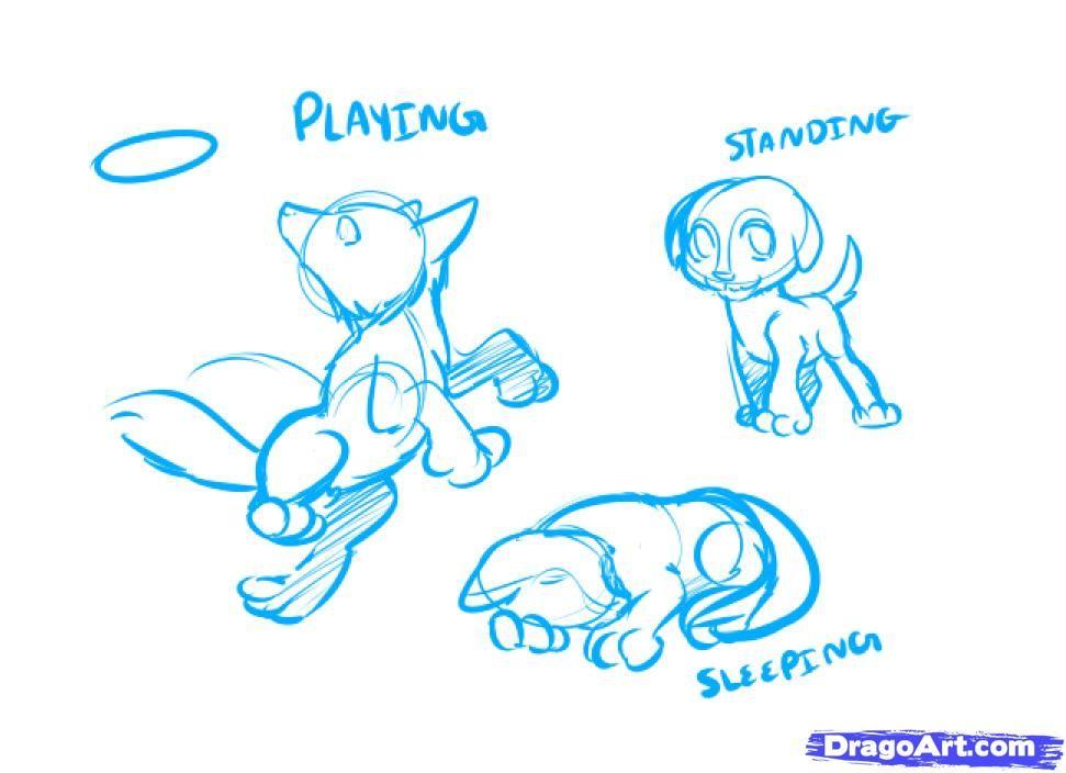 8234461a8b35 How to Draw an Anime Dog, Anime Dog, Step by Step, anime animals ...