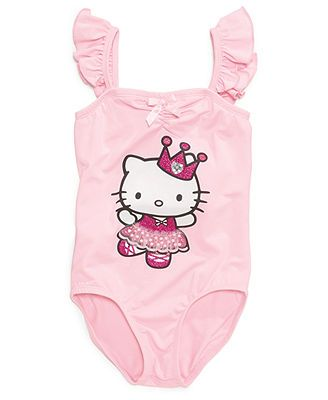 39f91b172 Hello Kitty Kids Leotard, Little Girls Flutter Sleeve Leotard   Emma ...