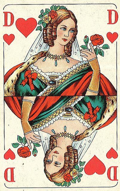 carte dame de coeur Queen of Hearts   Carte à jouer, Cartes à jouer anciennes et Jeux