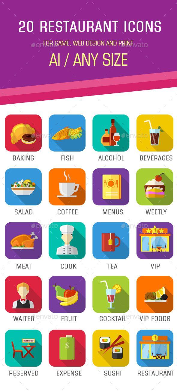 20 Flat Restaurant Icons