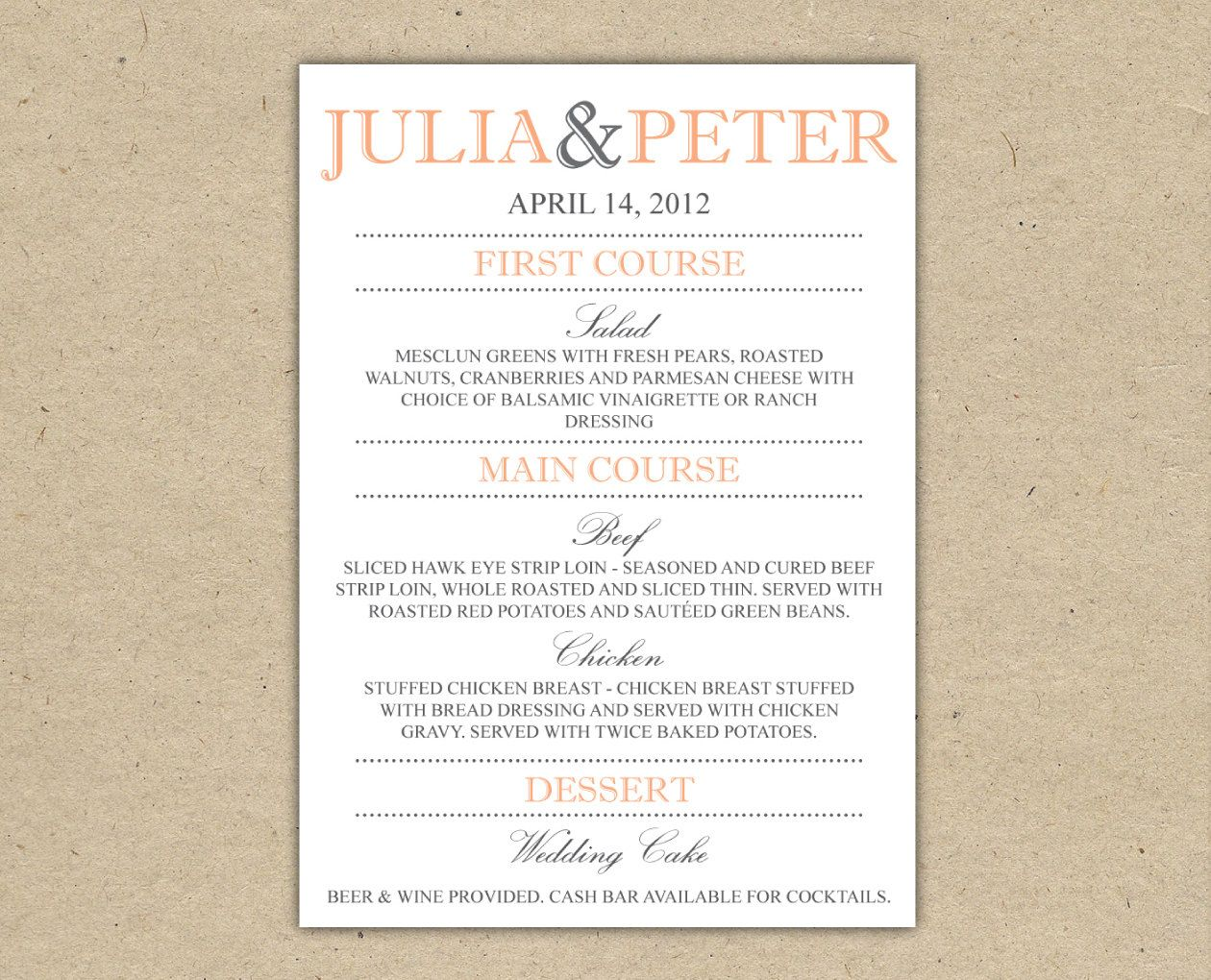Sample  Menu    Weddings