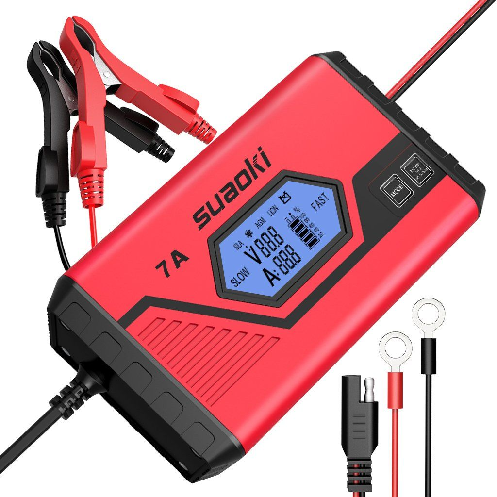 Suaoki Smart Battery Charger Portable Battery Maintainer Waterproof 12v 7a 3 5a Fully Automatic Trickle Battery Charger Car Battery Chargers Car Battery Hacks