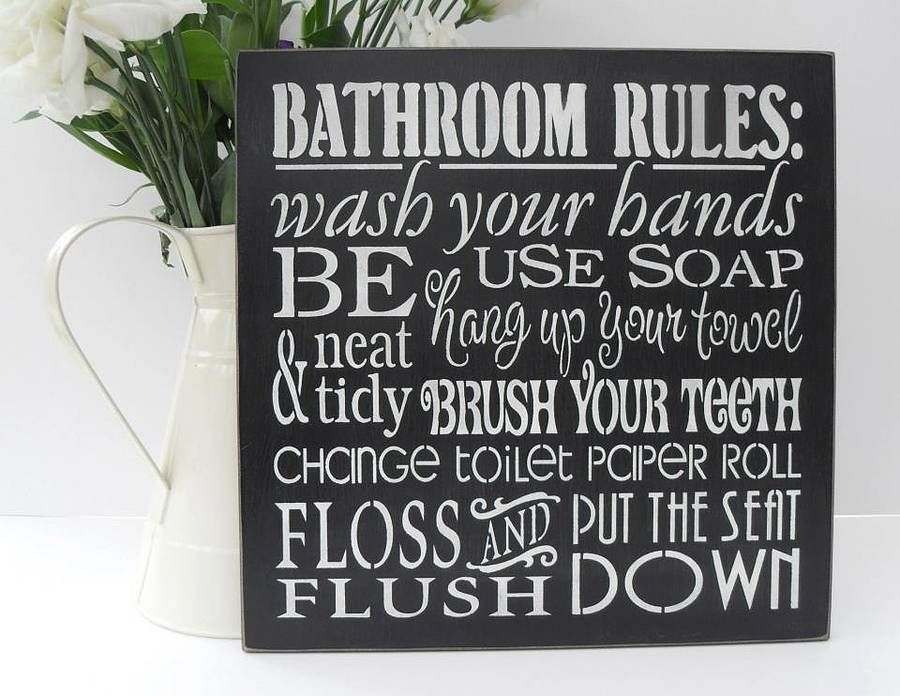 Great Handmade U0027Bathroom Rulesu0027 Wall Art