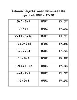 True False Math Equations True False Equations Algebraic Thinking