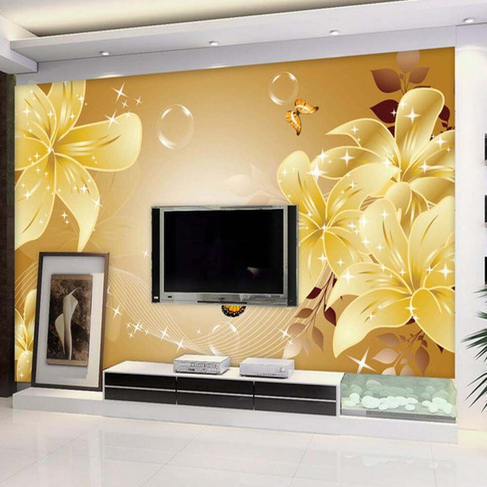 Find More Wallpapers Information about Lily Flower Butterfly Mural ...