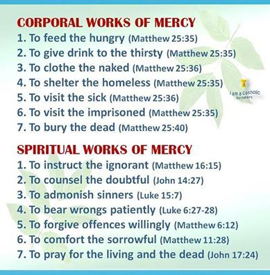 the corporal and spiritual works of mercy with scripture references