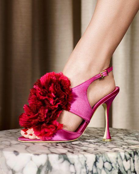 fb0bfc3f72847 Flore Satin Flower Sandal, Fuchsia   Shoes   Pinterest   Manolo ...