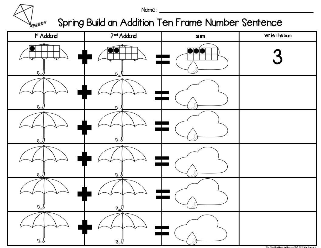 Spring 2 Addend Addition Amp Subtraction With Ten Frames