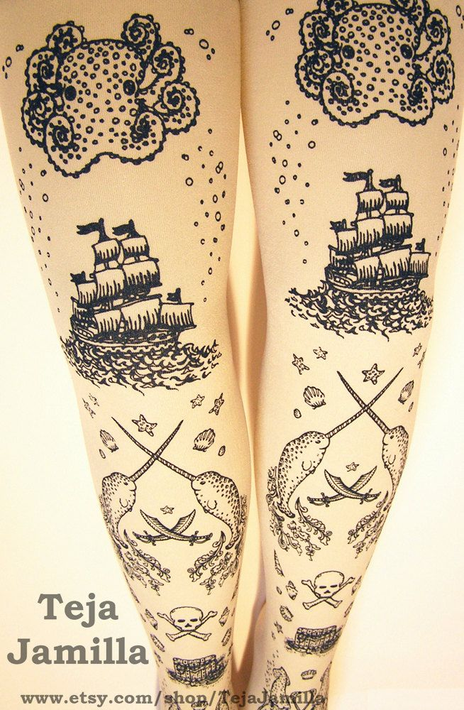 a75f63ab63a Pirate Printed Tights Extra Large Plus Size Black on Cream Womens Tattoo  Sailor Octopus Narwhal Squid Anchor.  25.65