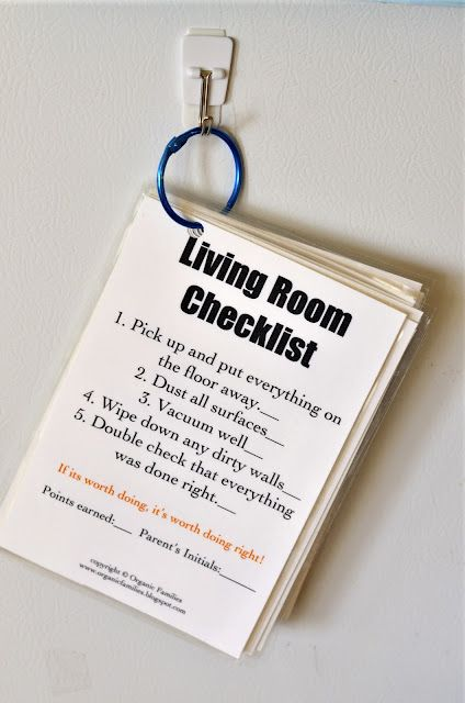 """Chore Cards- I like how they outline each job so kids know what """"clean the living room"""" involves so thugs don't get half done."""