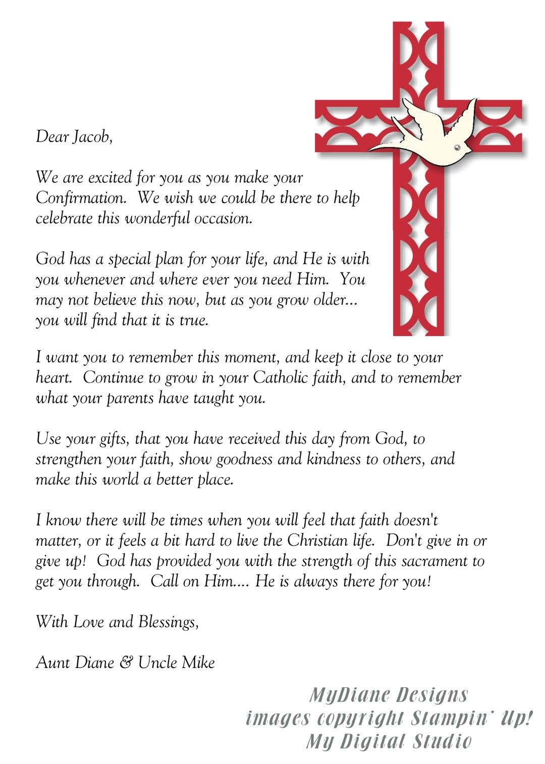 mydiane designs confirmation letter Confirmation quotes