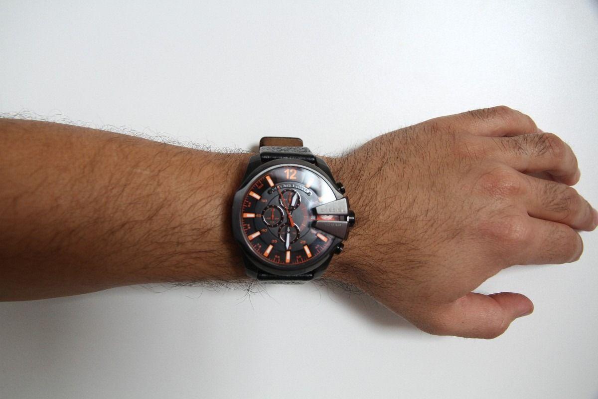 7f754988b Men's Diesel Mega Chief Black Leather Strap Chronograph DZ4291 $185.00 # Diesel #Watches #menswear
