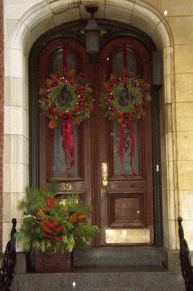 Entry | French Country Christmas | Christmas front doors ...