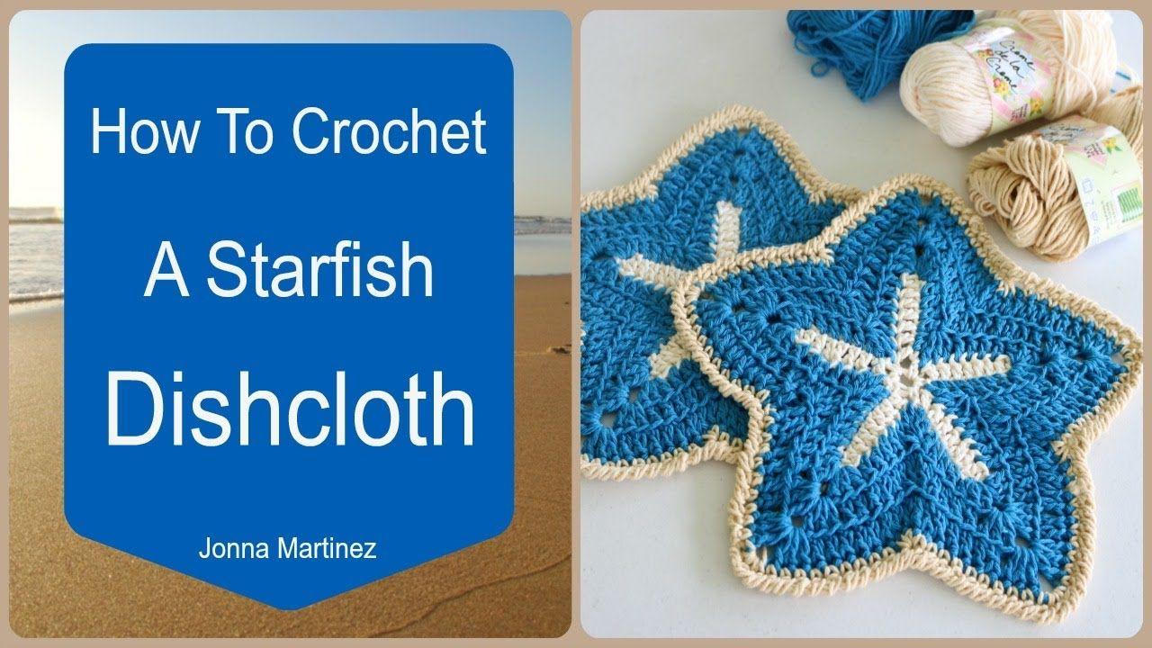 How To Crochet A Starfish Dish Cloth   cat crochet applique   Pinterest