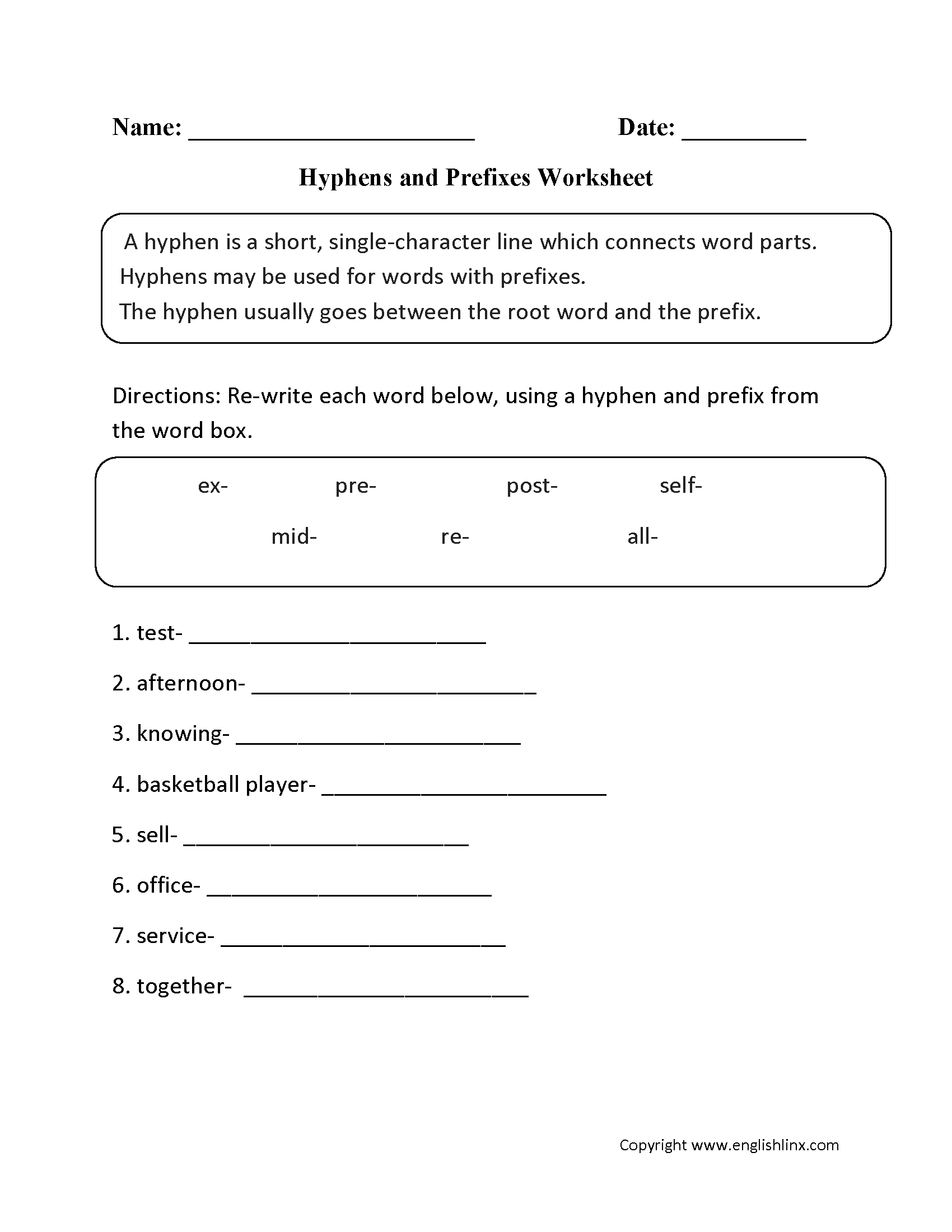 Hyphens And Prefixes Worksheet
