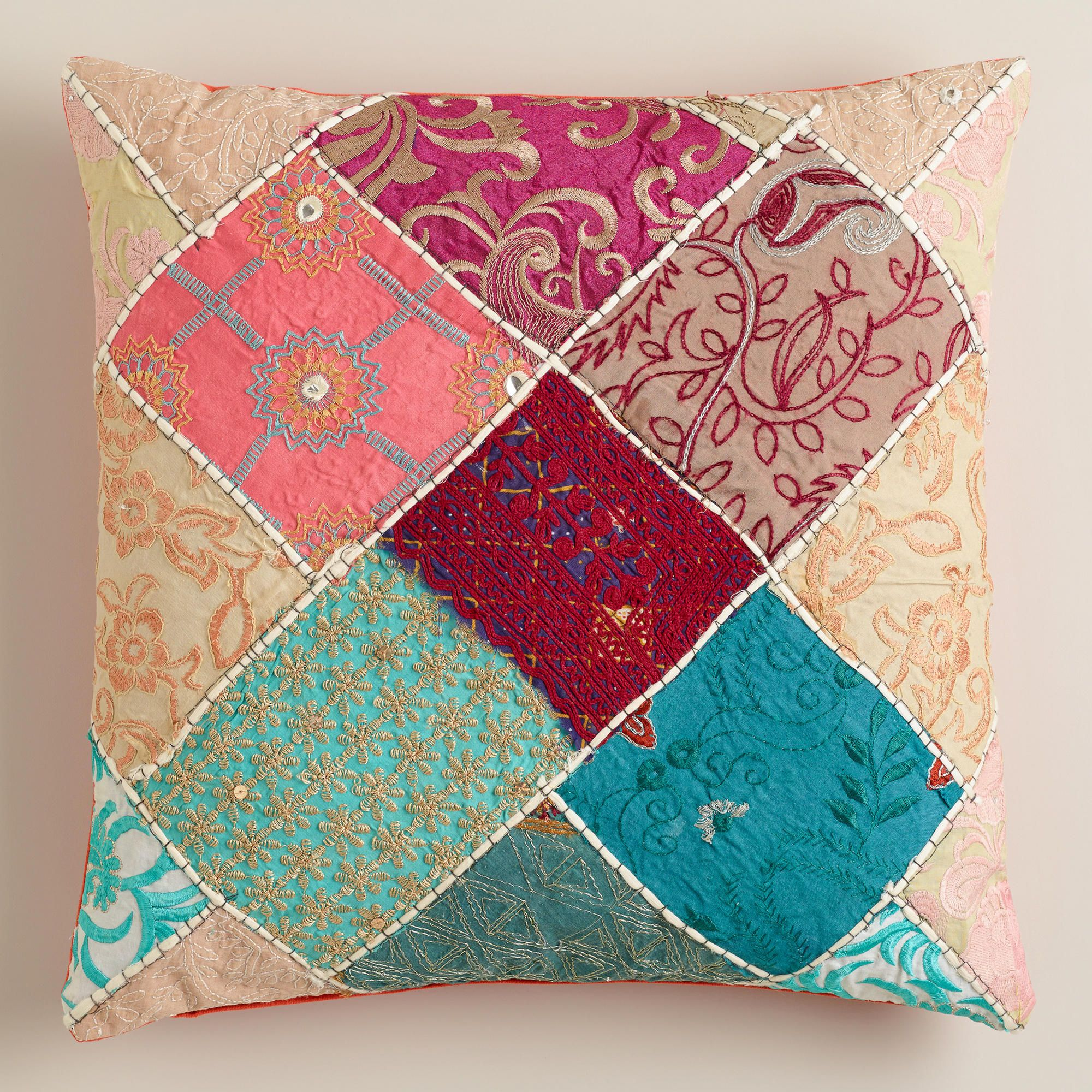 Multicolor sari patch throw pillow world market girlus room