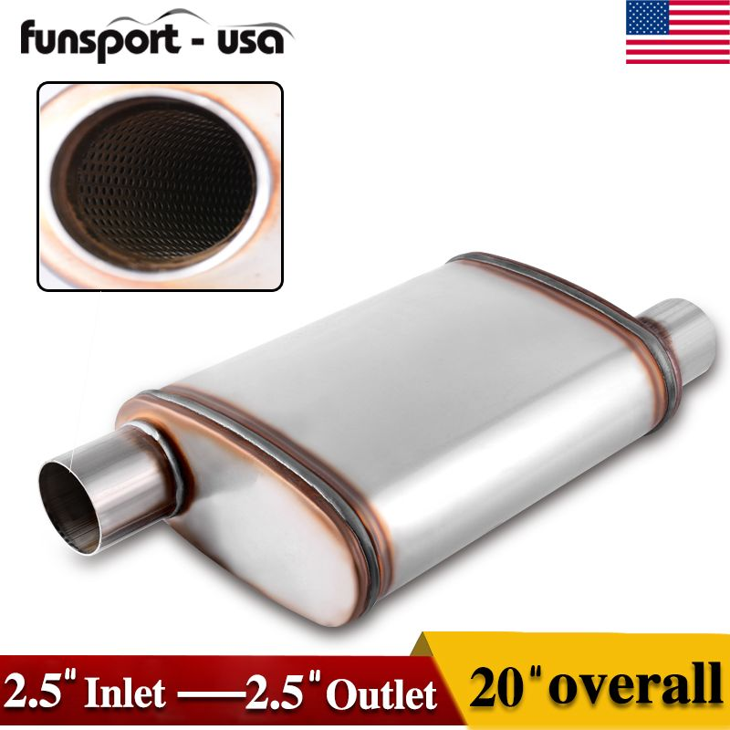 "3/"" Inch Durable Exhaust Muffler Custom Universal Oval Race Muffler Silencer"