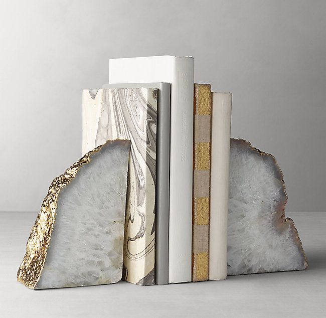 Gilded Agate Bookends Set Of 2 Agate Bookends Bookends Office Wall Design