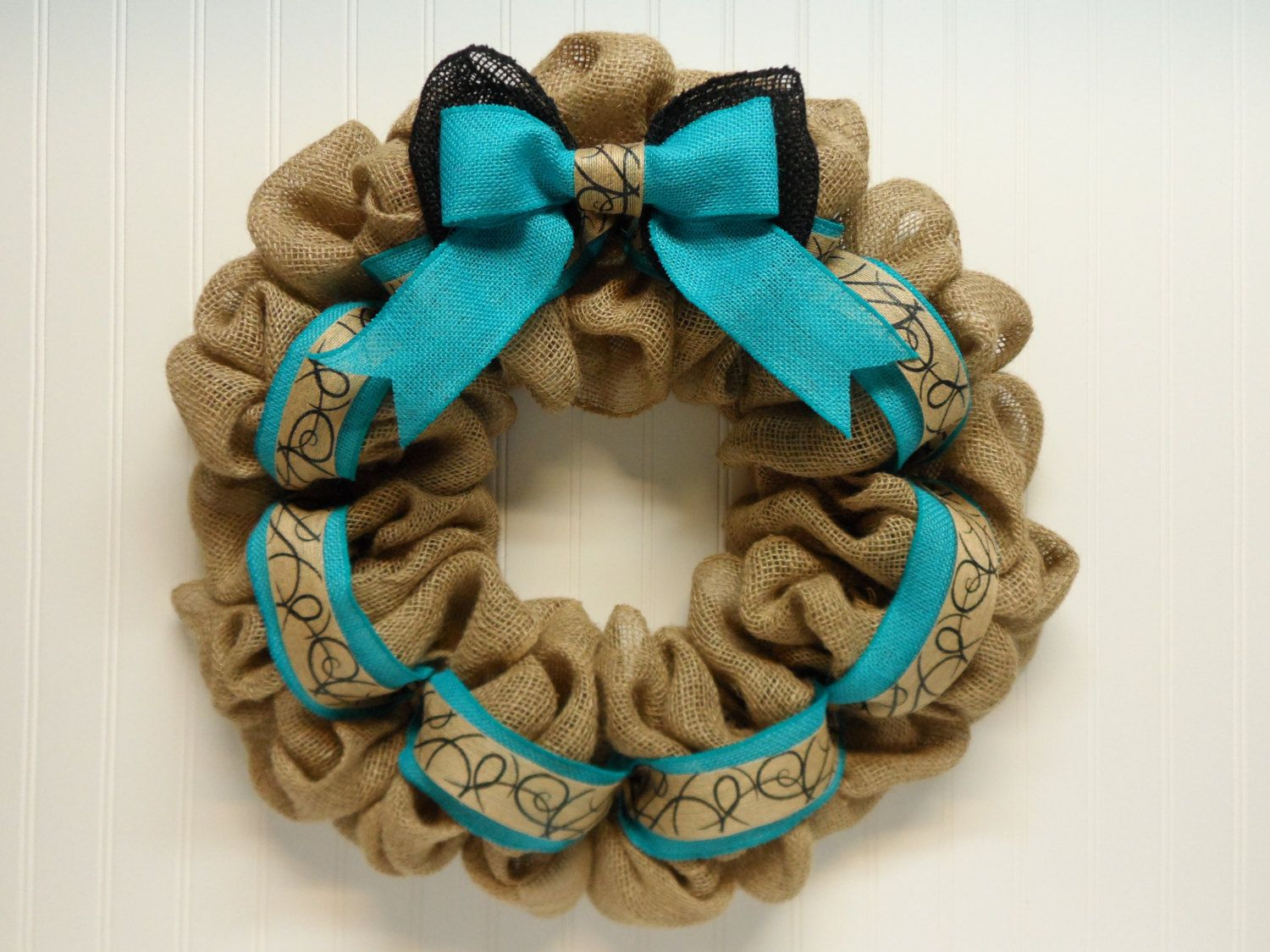Burlap Wreath, Natural Burlap, Country Burlap Wreath, Front Door Wreath, Handmade Burlap Bow, Aqua by BeautifulHomeAccents on Etsy