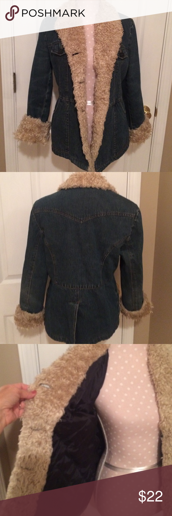 Jean jacket VERY nice jacket with a. fur look around collar and front and sleeves. Very warm and comfy. Buttons up and pockets on front too. Braeton Jackets & Coats Jean Jackets