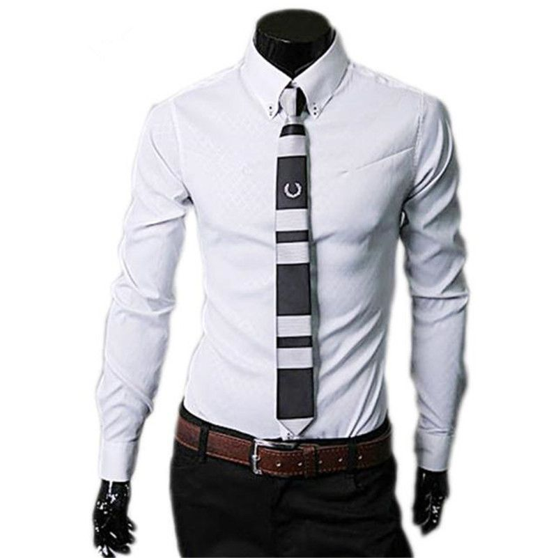 Click to Buy << Shirt Men Fashion Luxury Business Shirts Stylish Slim Fit