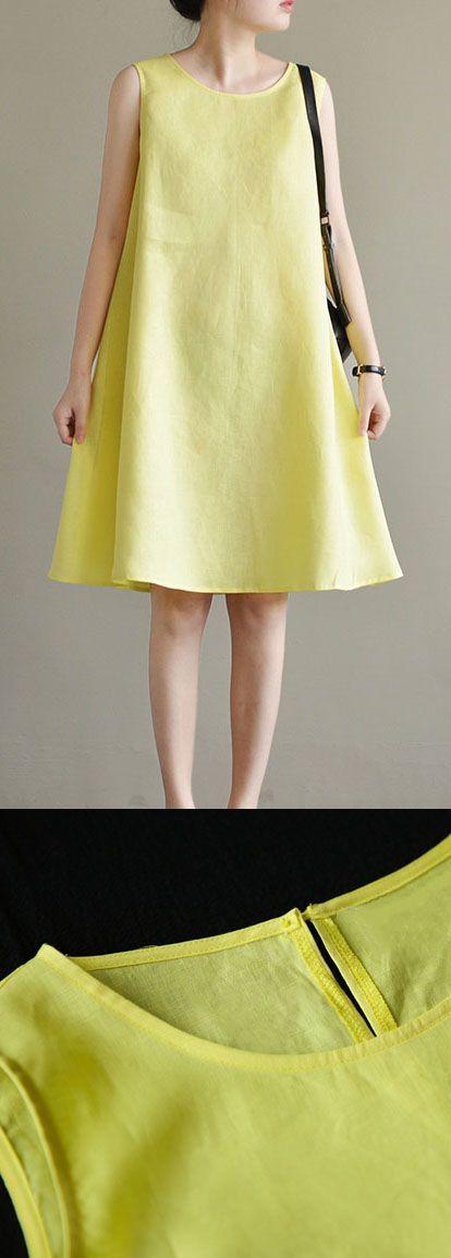 c7e37496b26 new yellow cute elegant linen sundress plus size casual dresses sleeveless  slim women dress