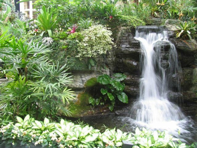 Wasserfall im Garten gestalten Ideen Design grüne Pflanzen - wasserfall im garten modern