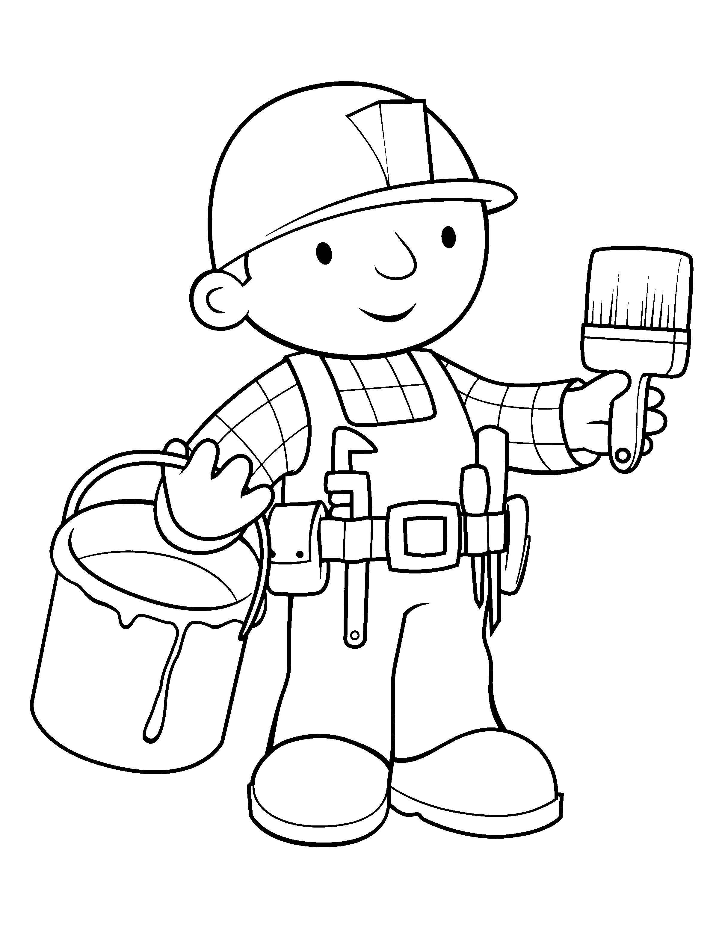 Bob The Builder And Paintbrish Coloring For Kids