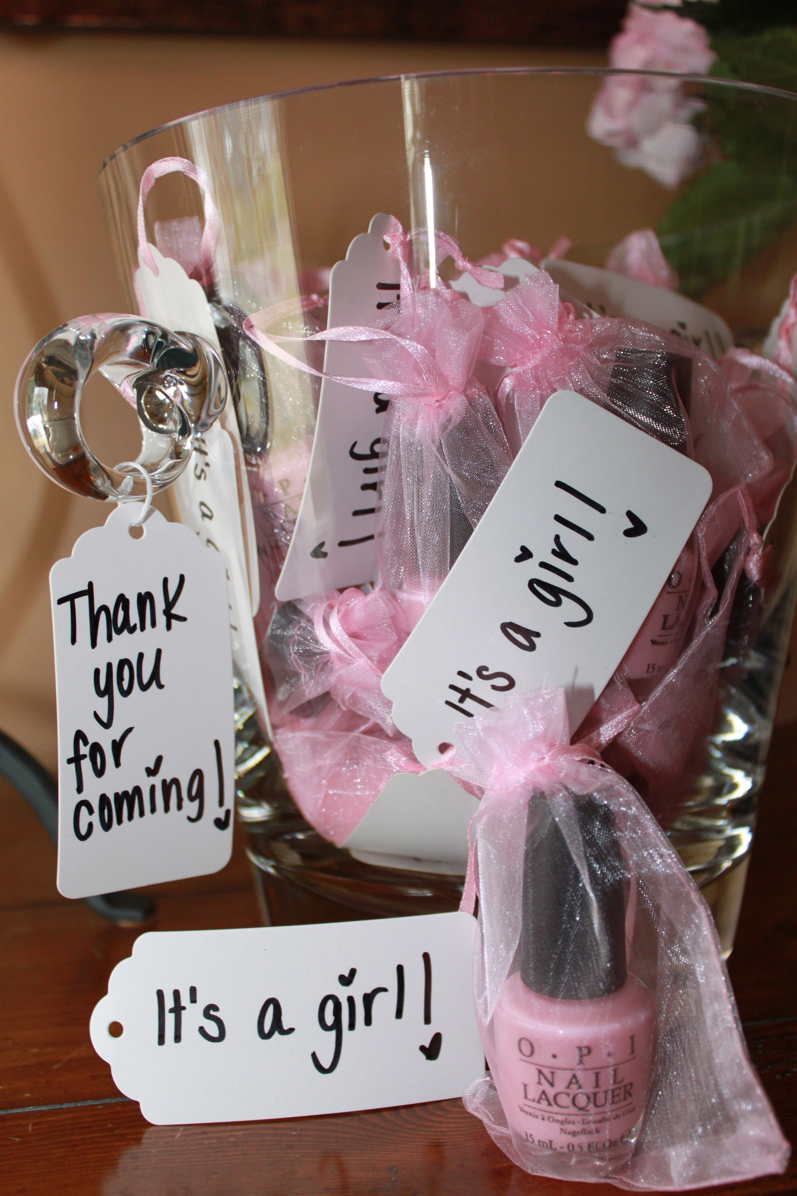 Baby shower favors for guests opi nail polish in a cute