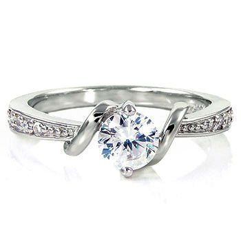 Entwined Love: 0.71ct Ideal Brilliant-cut Russian Ice on Fire Diamond CZ Promise Friendship Engagement Ring, 3066 sz 6.0, 925 Sterling Silver
