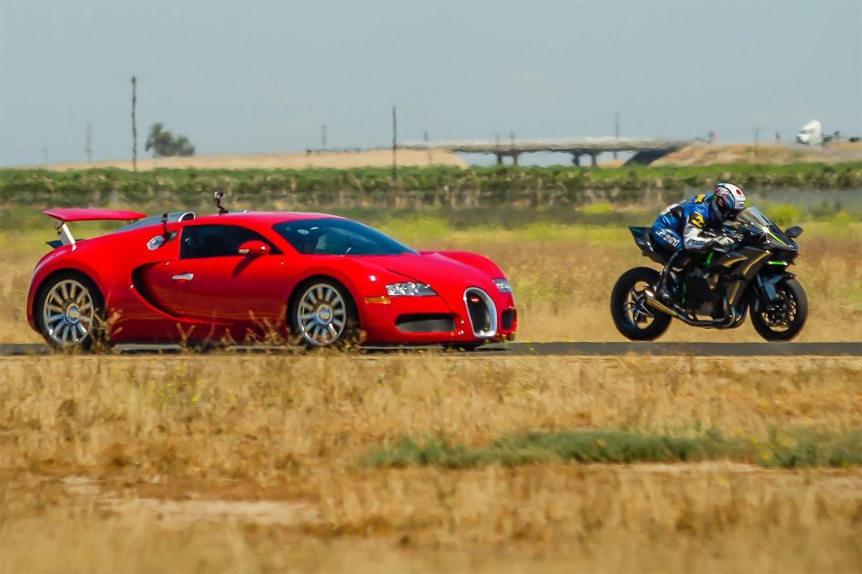 Kawasaki H2R Vs. Bugatti Veyron Video Bugatti veyron