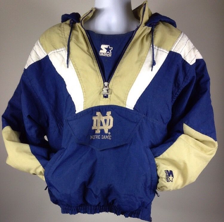 b11c50f39c4c Vtg Notre Dame Fighting Irish Pullover Starter Jacket Mens Small NCAA  College