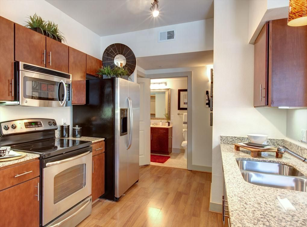 Model kitchen at AMLI City Vista, a luxury apartment