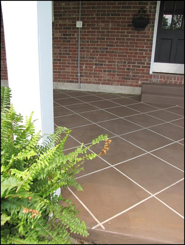 Diy Concrete Patio Cover Ups Lots Of Ideas Tutorials Including This Tile Look Stain Project From Beneath My Heart