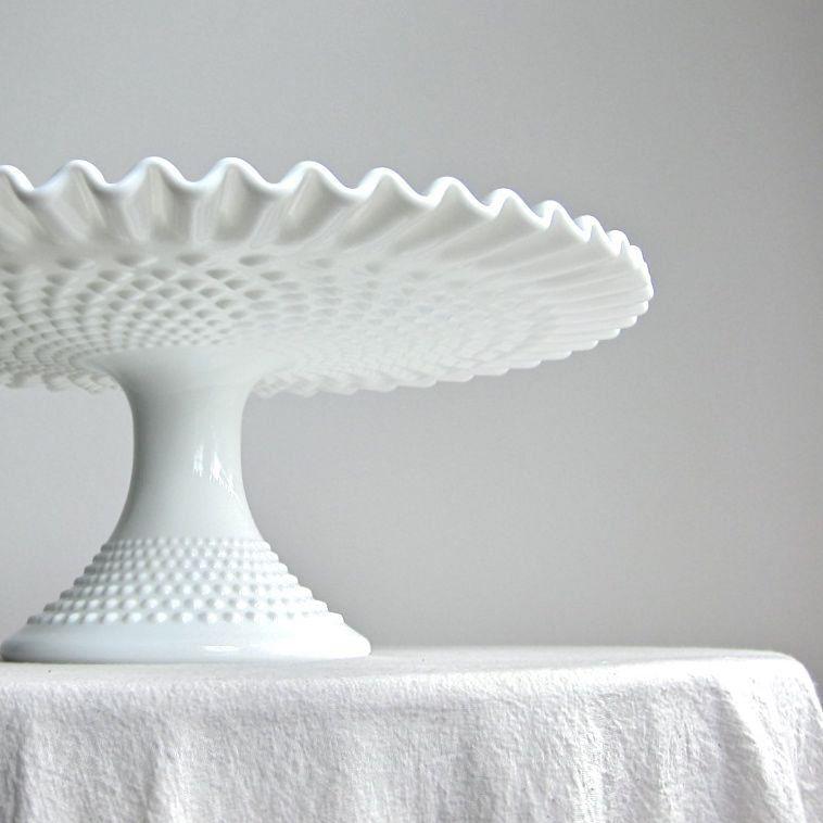 Hobnail milk glass wedding cake stand by fenton pedestal