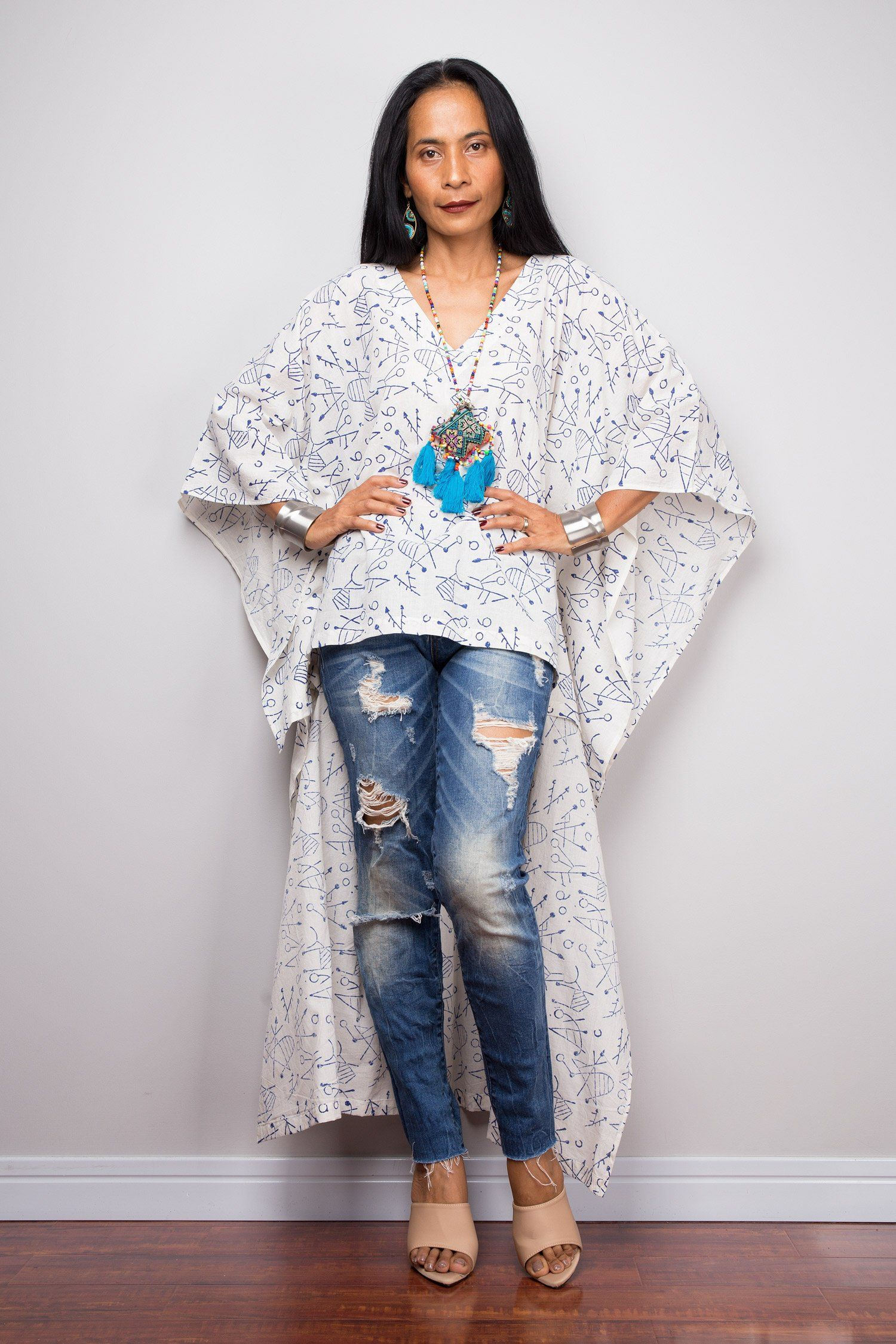0392543381 Boho Kaftan top | Block print cotton Tunic top | beachwear tunic| Indigo  Block print