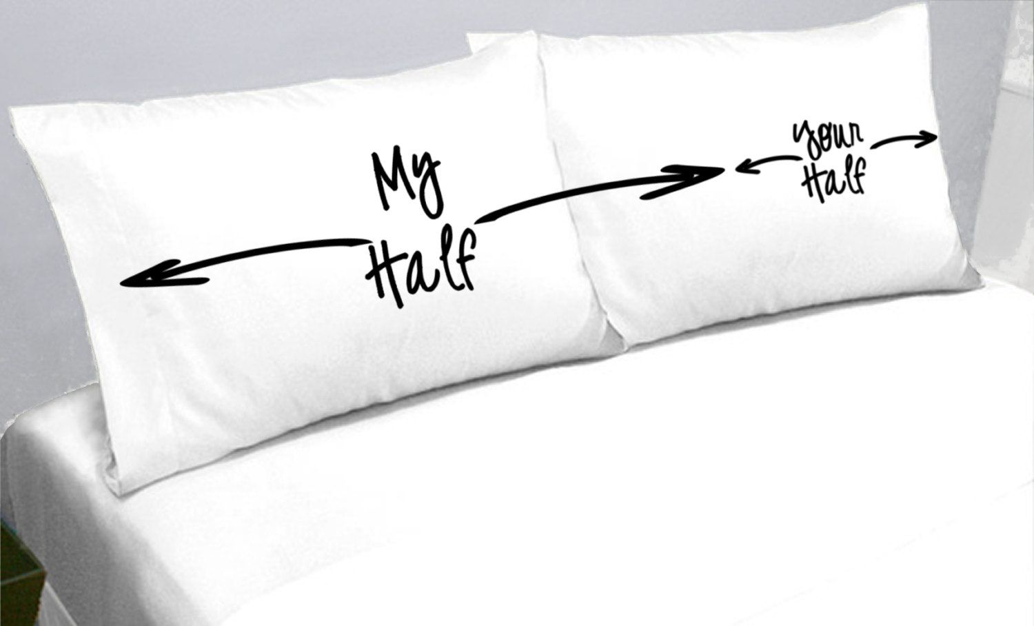 a lovely comfy pillow, and MY OWN SPACE to sleep in. bliss :-)My Half Your  Half Pillows Pillow Cases My Side Your Side Pillowcases -another funny gift  idea ...