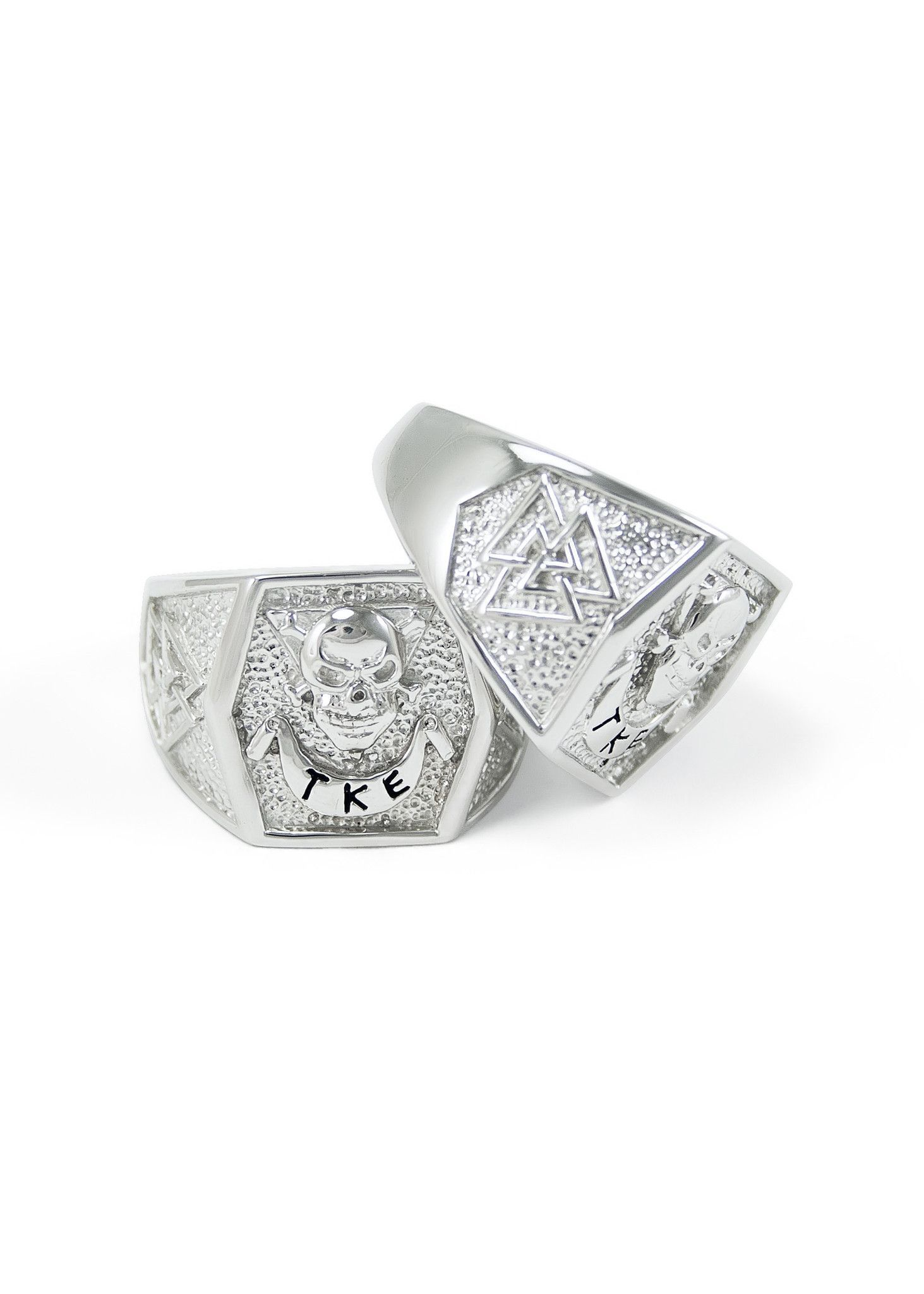 Sterling Silver Tau Kappa Epsilon Badge Ring with LLT Triangles