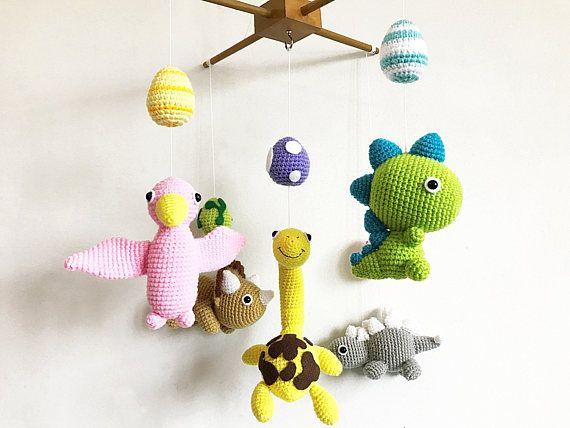 Amigurumi Sheep Baby Mobile : Baby mobile jurassic park crib mobile crochet dinosaur baby