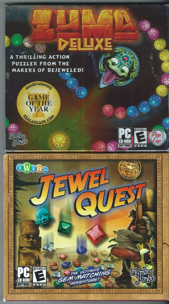 Zuma Deluxe (PC, 2004) & Jewel Quest (PC, 2004) Pictured