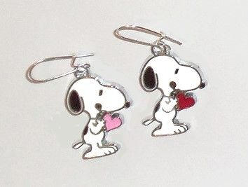 Snoopy with Pink and Red Hearts Silver Plated pierced earrings